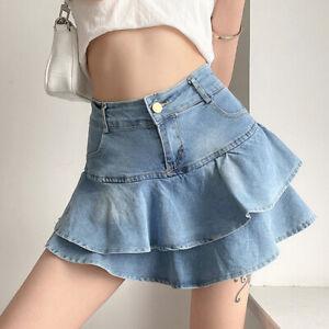 Ladies Pleated Flounce Hem Blue Denim Short Skirt Mini with Underpants Layered