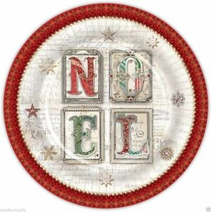 Punch Studio Holiday Christmas Dinner Paper Plates - Red & Green Noel 43235