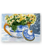 ACEO original watercolor blue white teapot gold flowers Lori Andrews collectible
