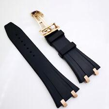 26mm Black Rubber Rose Gold Clasp Strap Connector For AP Royal Oak 15400 15300