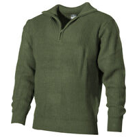MFH Navy Sweater Acrylic Mens 1/4 Zip Jumper Pullover Tactical Army OD Green