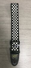 """LEVY'S BLACK AND WHITE CHECKERED ADJUSTABLE GUITAR STRAP 2"""" X 50"""""""