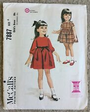 Vintage 1960's McCalls Child's High Waisted Dress Cut Sewing Pattern 7887