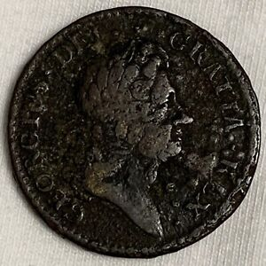 1723 Rosa Americana Colonial Half Penny Crowned Rose (L614)