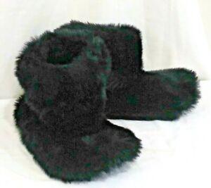 Victorias Secret Pink Black Super Soft Fur Slippers Booties NWT S 5 - 6