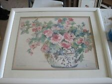 "NANCY LUND signed Watercolor  framed and tripple matted 27x34"" art print"