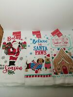 """Holiday Style Christmas Winter Themed  Kitchen Towel 3 Pc Lot 14"""" x 24"""" NWT"""