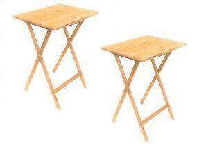 2x Bamboo Folding Bedside Table Foldable TV Tray Work Serving Reading Kids Desk