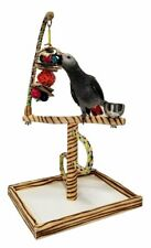 New listing Pet Bird Play Gym Wood Parrot Playstand Portable Toy Medium Perch Playground