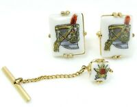 Swank Military Hat Cufflinks Set with Tie Tack Pin Painted Enamel Vintage