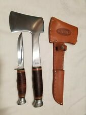 Vintage Ka-Bar USA Knife Hatchet Axe Combo 1232 & 1331 w/ Sheath, Never Used