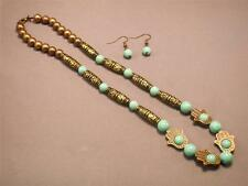 HAMSA Necklace Earring Set Turquoise Beads Antique Gold Finish GOOD LUCK