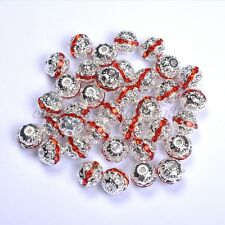 20Pcs Quality Czech Crystal SILVER PLATED Charms Spacer BEADS 6MM 8MM 10MM 12MM