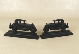 Rare Pair of Early R. H. Jarvie Cast Iron Vintage Automobile Bookends