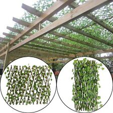 Trellis Fence Expands 200cm Long w/ Artificial Ivy Leaf UV Protected Garden Home