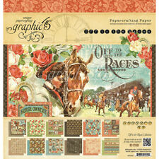 "Graphic 45 OFF TO THE RACES 12""x12"" paper pad 24 sheets~ Nice! Quick Ship!"