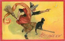 Raphael Tuck Flying Witch on Broomstick Halloween Prints or Window/Door Decals