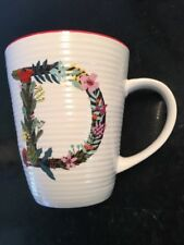 """Pier 1 Stoneware Beautiful Floral Initial Letter """"D""""Cup Mug"""