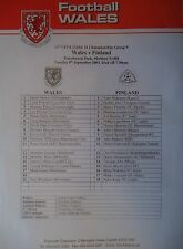 Team Sheet U21 LS 9.9.2003 Wales - Finnland