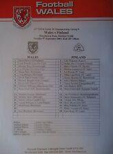 Team Sheet U21 LS 9.9.2003 Wales - Finnland