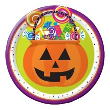 "Gone Batty 8 Ct 7"" Dessert Plates Halloween Party Pumpkin Candy"
