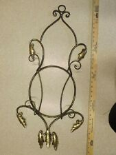 Rack, Wall Mount, Display Rack, Plate Holder, 2 plate, Wrought Iron Black & Gold
