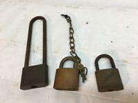 Vintage 3pc Pad Locks Lot Brass USA Reese Slaymaker No Keys
