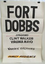 VINTAGE ORIGINAL 1958 FORT DOBBS CLINT WALKER & VIRGINIA MAYO MOVIE PROMO POSTER
