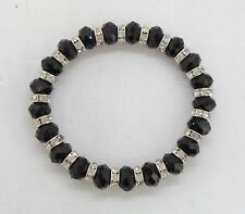 Black Crystal Faceted Bracelet with Silver Diamante Spacer Beads