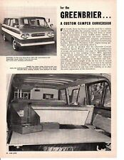 1962 CHEVROLET CORVAIR GREENBRIER SPORTS WAGON ~ ORIGINAL 2-PAGE ARTICLE / AD