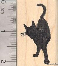 Black Cat Rubber Stamp in Silhouette, Looking Behind G18620 WM
