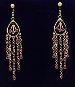 Fine Ruby Drop Earrings 375 (9ct) Yellow Gold - Fancy Chandelier - Length 55 mm