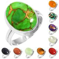 925 Sterling Silver Gemstone Ring Handmade Jewelry Size 5 6 7 8 9 10 11 12 vT436