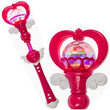 PRINCESS LIGHT UP WAND WITH SOUND GIRLS FAIRY FANCY DRESS PINK PLASTIC TOY NEW