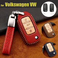 Leather Car Fob Key Chain Cover Case Shell For VW Golf GTI R32 Jetta Polo Beetle
