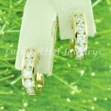 14k Solid Yellow Gold Natural Diamond Earring hoop Huggie  USA 1.55 ct 5 stone