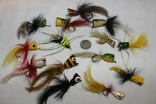 Lot of 14 Misc. Nice Vintage Feathered Cork Bass Fly Rod Popper Fishing Lures