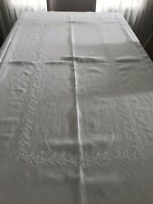 Vintage Linen Tablecloth, Embroidered, Hem Stitched, Pristine, Preowned