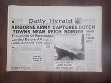 DAILY HERALD WWII NEWSPAPER SEPTEMBER 18th 1944 AIRBORNE ARMY NEAR REICH BORDER