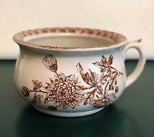 Antique English Stoneware Chamber Pot TW & Son Brown Transferware CHRYSANTHEMUM