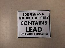 MOTOR FUEL ONLY DECAL SIGN, FOR VINTAGE GAS PUMP