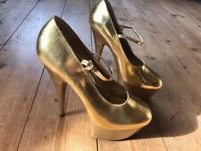 ❤️Sexy NITELIFE Gold Patent Mary Jane Platform Stiletto Heels UK5 Stripper Party