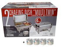 2er Set Chafing Dish Speisenwärmer 20 tlg. Edelstahl inkl. Sicherheitsbrennpaste