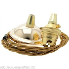 New Complete Deco Styled B22 Brass Pendant Kit with Antique Gold Braided Flex