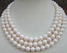 """HUGE AAA 9-10MM ROUND SOUTH SEA WHITE PEARL NECKLACE 50"""" 14K GOLD CLASP"""
