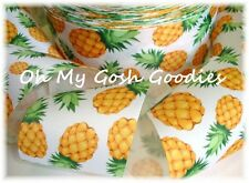 2 1/4 DESIGNER PINEAPPLE * PATCH * GROSGRAIN RIBBON TROPICAL 4 HAIRBOW BOW