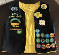 Vintage 1970s and 1980s Girl Scouts Badges Patches Pins Buttons on Generic Vest!
