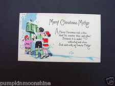 Unused Vintage Hand Colored Xmas To Mother  Greeting Card Kids Sending Mail
