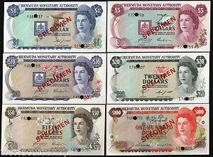BERMUDA 1 5 10 20 50 100 DOLLARS Specimen P28 29 30 31 32 33 1978 QUEEN UNC SHIP