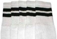 "25"" KNEE HIGH WHITE tube socks with BLACK stripes style 2 (25-35)"